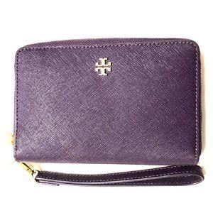 Purple Tory Burch tech wallet wristlet